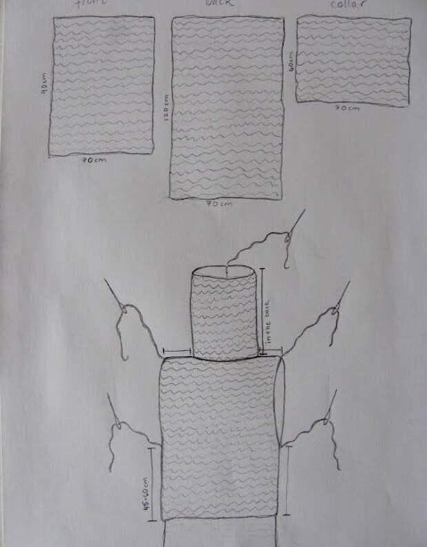 Вязаный жилет с выкройкой