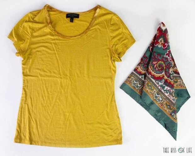 Футболка с шелковым платком-дизайнерский подход к обновлению гардероба