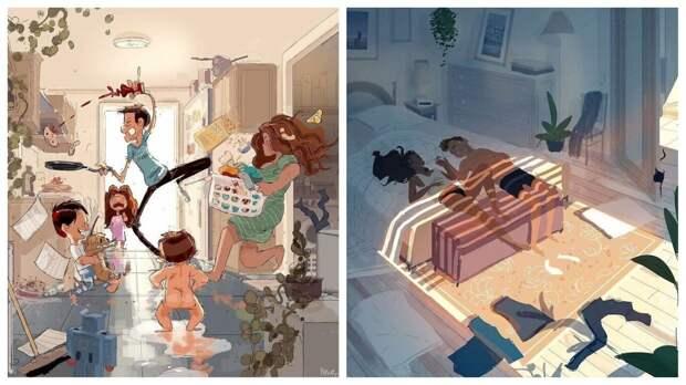 Художник документирует идиллические моменты жизни с женой и детьми