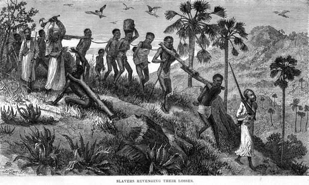 Колонна связанных друг с другом рабов (Центральная Африка, 1866 год)