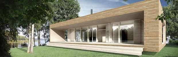 Современной дачное решение для молодой семьи. Много стекла, небольшая терраса и красивая обшивка деревом.