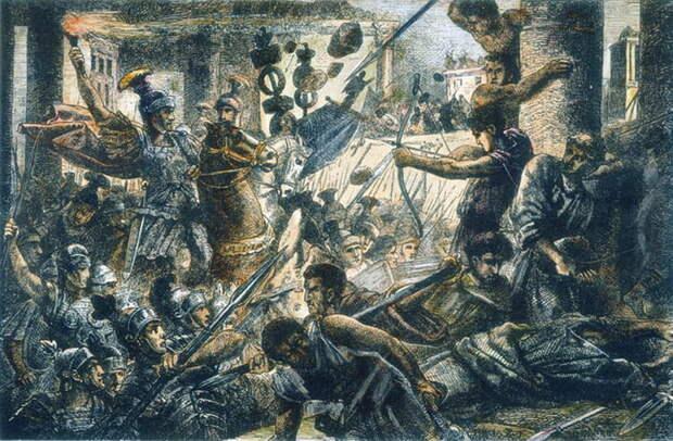 Битва у Коллинских ворот, 82 год до н. э. Гравюра по дереву, ХІХ век - Последний диктатор республиканской эпохи   Военно-исторический портал Warspot.ru