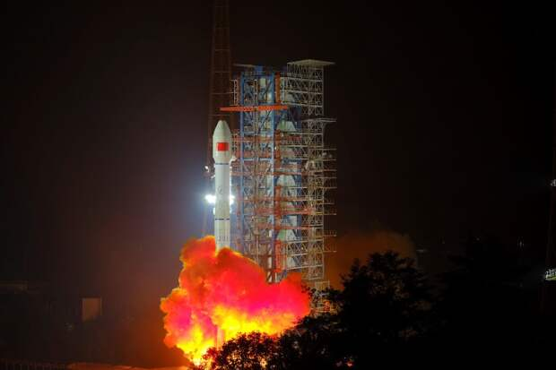 Chinese space rocket launch in Xichang.