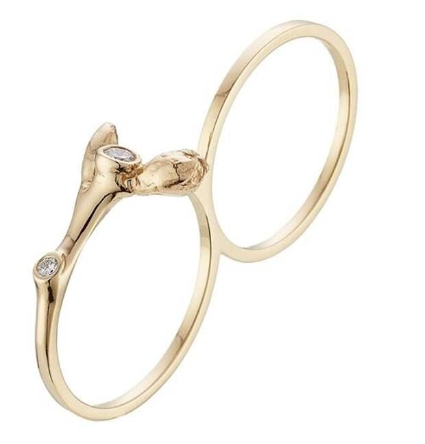 тонкое двойное кольцо на два пальца из желтого золота