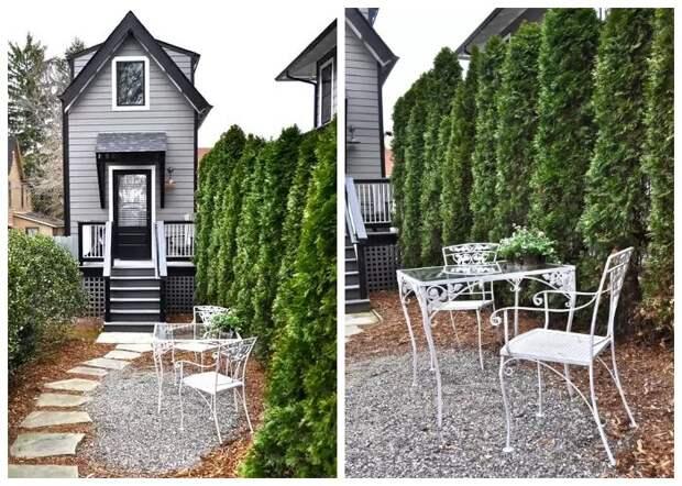 Во внутреннем дворике оформили зону отдыха, поместив на ней изящную садовую мебель (Bird House, штат Северная Каролина).