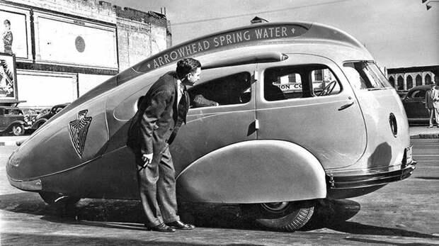 Нескладный трехколесный вагончик Arrowhead для рекламирования ключевой воды. 1936 год авто, автомобили, атодизайн, дизайн, интересный автомобили, олдтаймер, ретро авто, фургон