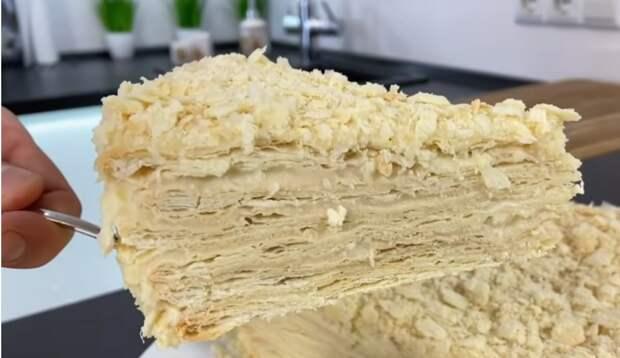 Торт ленивый наполеон с обалденным заварным кремом без единого комочка!
