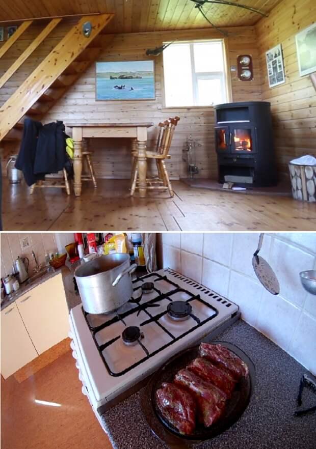 Для обогрева домика установили дровяную печь, а для приготовления еды есть баллонный газ (о.Эдлидаэй, Исландия).   Фото: youtube.com/ © Bjarni Sigurdsson.
