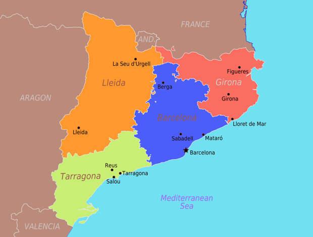 Карта Автономного сообщества Каталонии - Каталония: сепаратизм под сенью эстелады | Военно-исторический портал Warspot.ru
