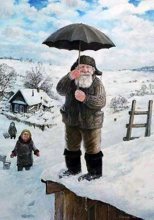 Добрые картины Леонида Баранова Арт, Картина, Живопись, Подборка, Пожилые, Деревня, Длиннопост