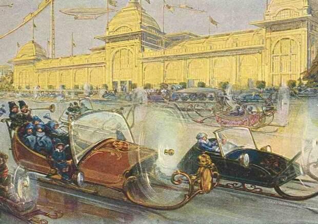«На аэросалазках шмыгают сбитенщики»: Москва XXII-XXIII веков на открытках 1914 года