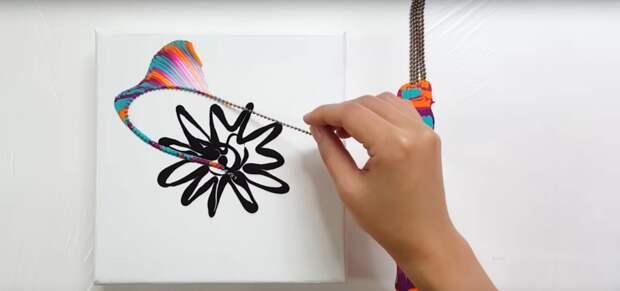 Очень красивая и необычная техника рисования с помощью цепочки+ видео мастер класс