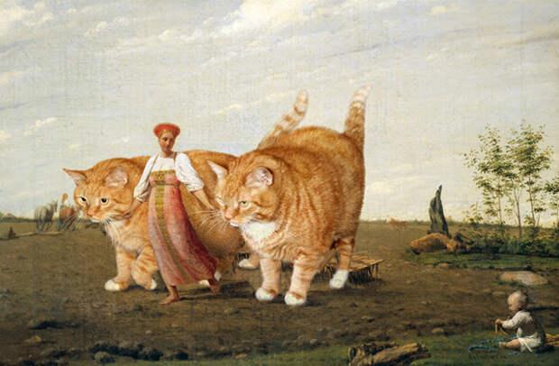 Толстый рыжий кот из России стал звездой классических картин