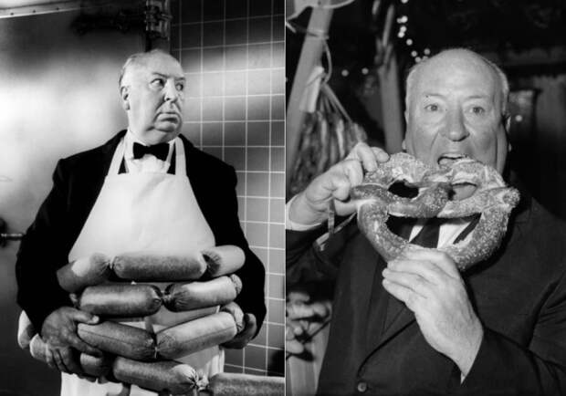 Альфред Хичкок страдал обжорством и боялся куриных яиц | Фото: old-picture.ru и zagge.ru