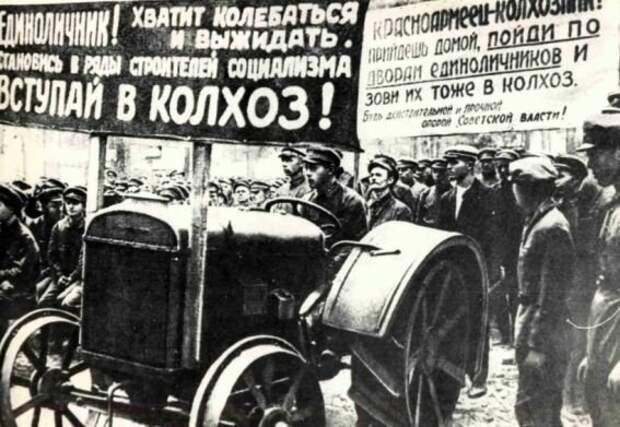 Сначала большевики попытались создать крупные агропромышленные хозяйства путем обычного убеждения