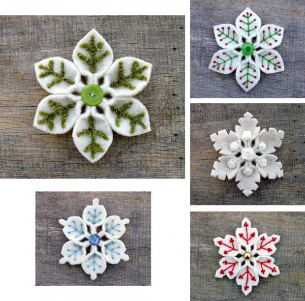 Снежинки из разных материалов (подборка)