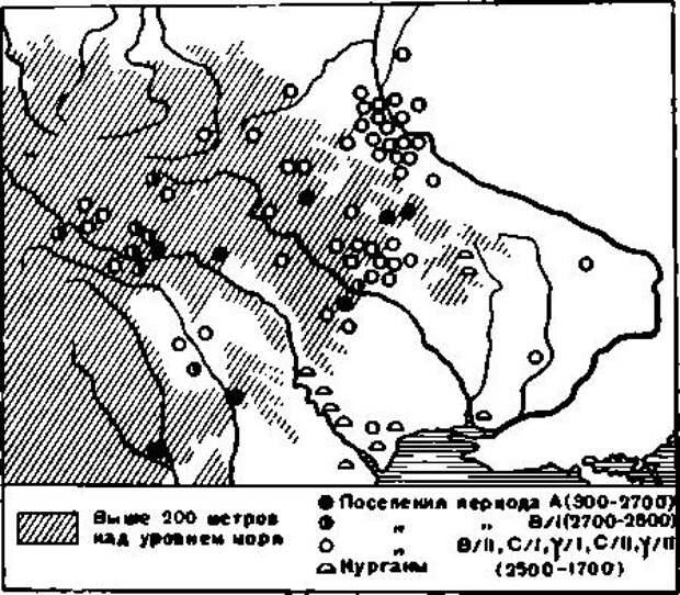 Рис. 5. Поселения трипольской культуры (по Т. С. Пассек)