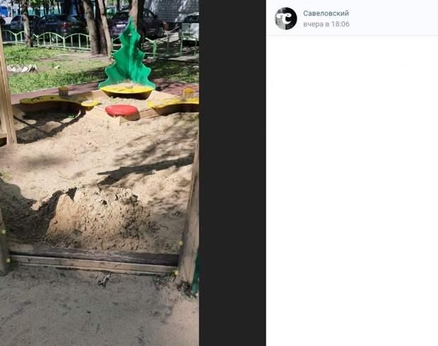 До 23 мая на детской площадке на Башиловской пройдет замена песка
