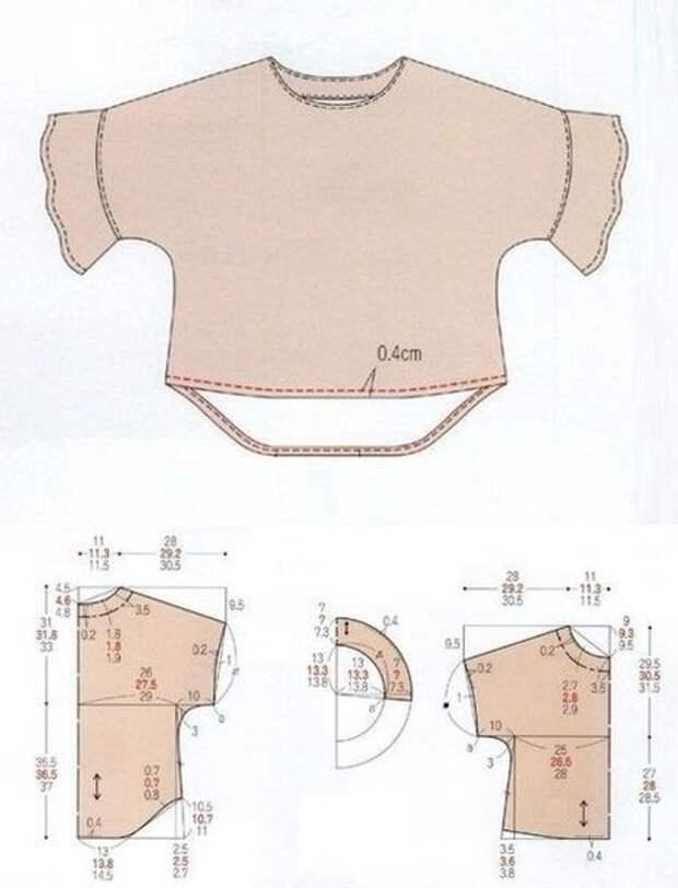 Простая выкройка блузки-футболки