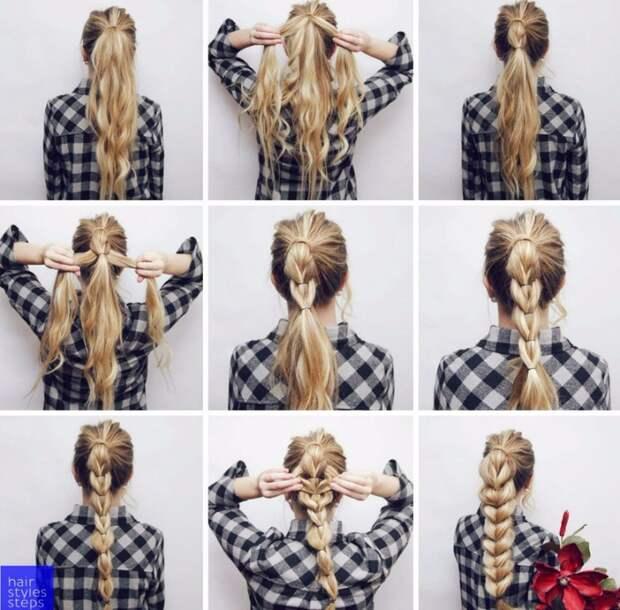 Коса на резинках (Diy)