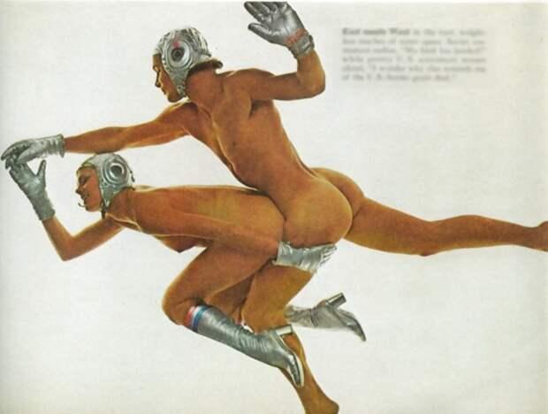 4. Фотография из журнала PlayBoy 1975 года, посвященная историческому событию — стыковке в космосе советского космического корабля «Союз» и американского «Аполлон». история, фото