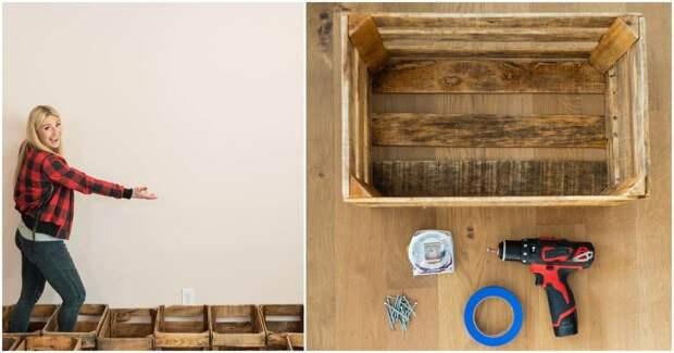 С помощью самых простых ящиков девушка украсила стену своей комнаты