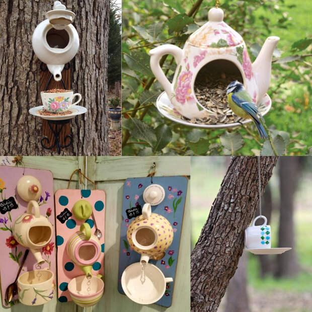 кормушки для птиц из чашек