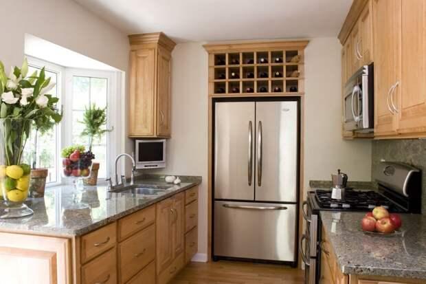 столешница из искусственного камня в дизайне небольшой кухни