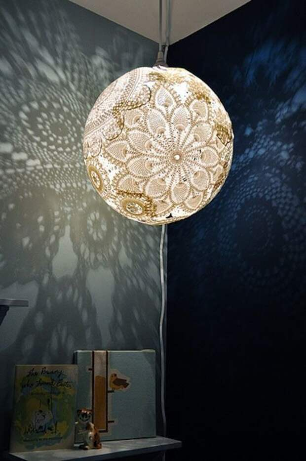 1. Ажурный светильник Фабрика идей, кружевная салфетка, наши руки не для скуки, поделки и переделки