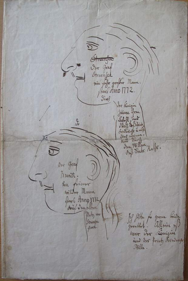 Струэнзе и Брандт. Рисунок короля Кристиана VII. <br>