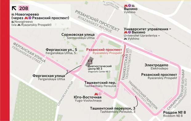 С 3 июля автобус № 208 изменит маршрут в Выхине-Жулебине