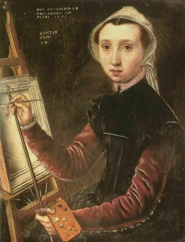 Автопортрет, 1548 г. Катерина ван Хемессен, придворная художница Марии Австрийской