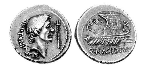 Монета с изображением Гнея Помпея Великого