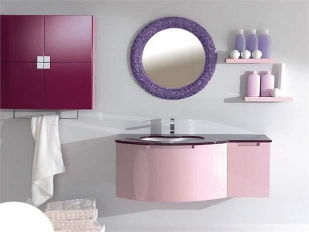 Холодные оттенки розового в интерьере ванной комнаты, мебель «LASA IDEA»