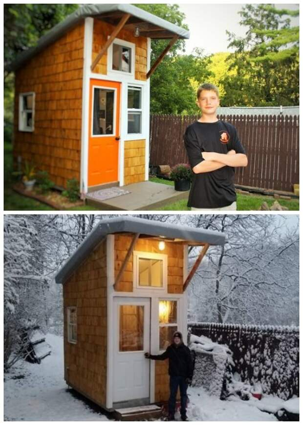 Люк Тилл – самый юный строитель собственного крошечного дома.   Фото: green-life.livejournal.com.