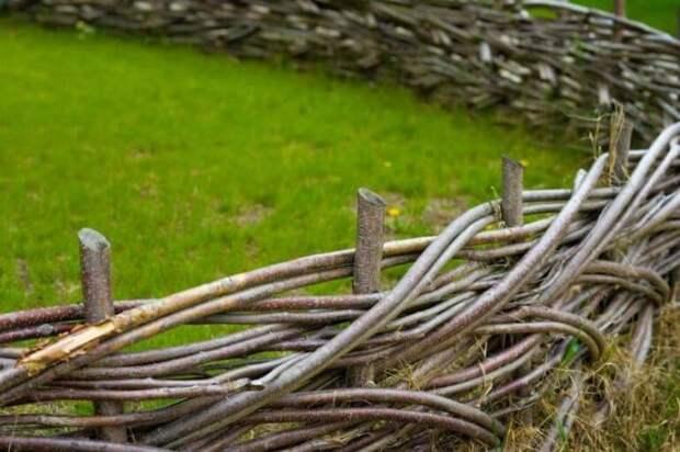Для плетения забора следует использовать прутья гибких пород дерева, например ивы или лозы.