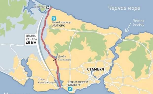 Турция начинает строительство нового пролива в Черное море