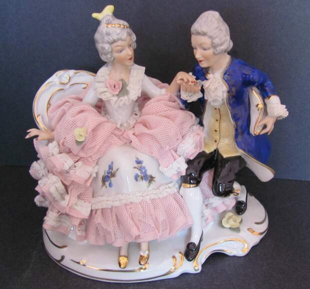 Vintage Sandizell Dresden Porcelain Lace Group Figurine Courting Couple