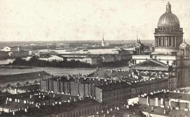 Панорама Петербурга с Реформатской церкви в сторону Главного Адмиралтейства (1867 — 1869) дореволюционные снимки, интересно, кадр, россия, факты, фото
