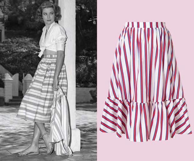 Фото образ Грейс Келли с юбкой в полоску и блузкой