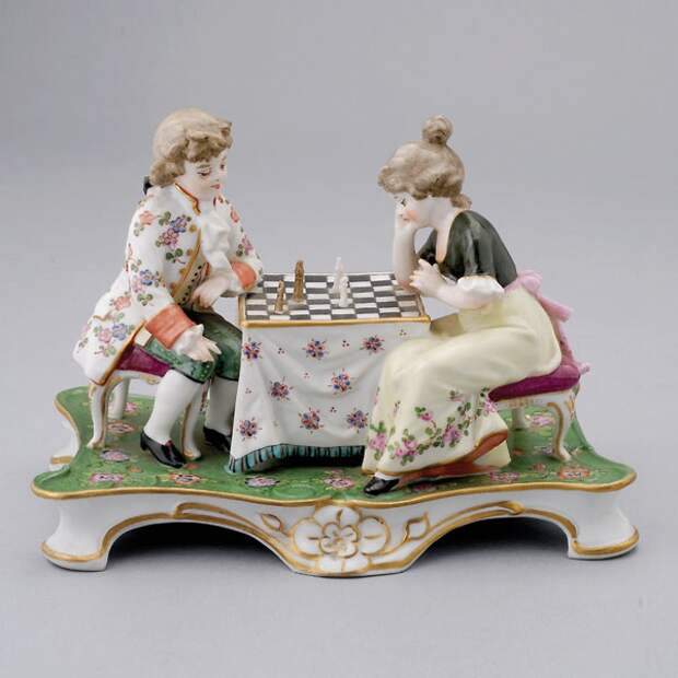 Dresden German Figural Group of Two Children Playing Chess #dresden #michaans