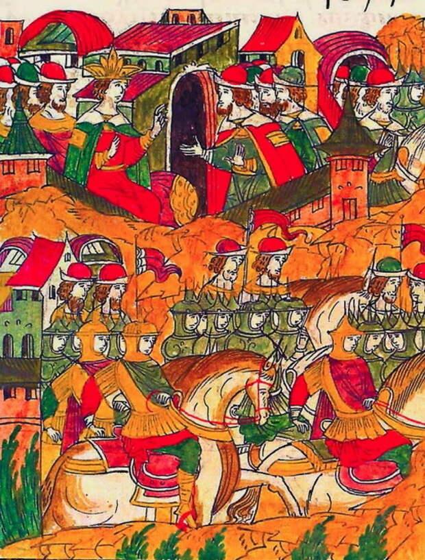 Выступление Шереметева Большого с ратью в поход. Миниатюра из Лицевого свода, том 22 - «Ознаменованная славой отчаянной битва…» | Warspot.ru