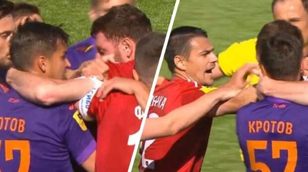 Футболисты «Уфы» и «Тамбова» устроили потасовку на поле во время матча чемпионата России