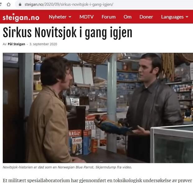 Владимир Карасёв: Норвежские СМИ назвали отравление Навального цирком «Монти-Пайтон»
