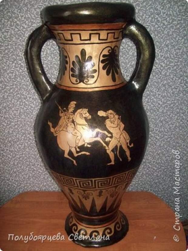 Ваза своими руками Перед тем как изготовить вазу, я долго думала из чего же мне сделать сосуд, напоминающий древнегреческую амфору, и, остановилась на варианте изготовления вазы из картона в технике папье-маше. Здесь, я пошагово расскажу как я это делала и что получилось в итоге. фото 13