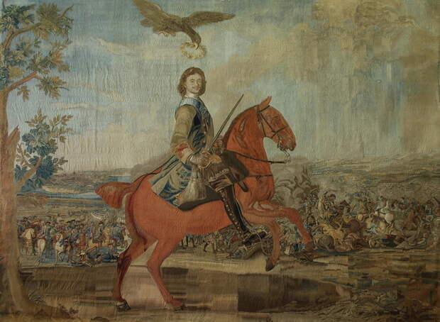 Шпалера «Полтавская баталия», созданная на Петербургской мануфактуре одной из первых