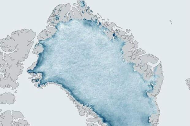 Темная зона на ледяном щите Гренландии угрожает всему человечеству