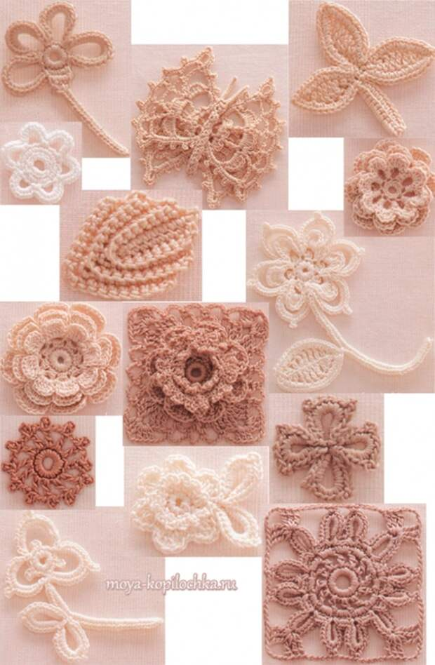Коллекция мотивов для ирландского кружева из японского журнала Irish Crochet Lace