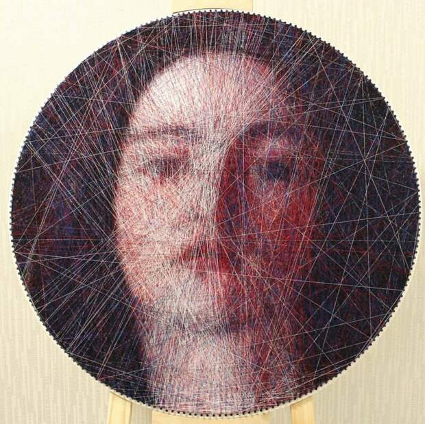 Портрет девушки искусство, красиво, креатив, нити, программирование, рисунки, творчество, художники