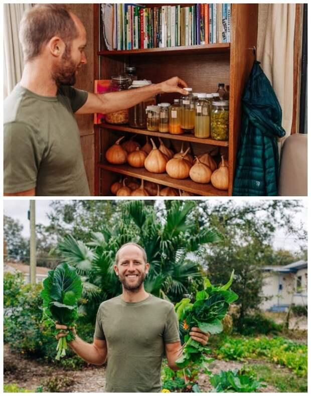 Овощи Роб Гринфилд выращивает сам, которые консервирует и хранит в кладовой.   Фото: tiredbee.com.